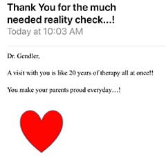 Testimonial letter: Thank You for the much needed reality check…! Patient 10