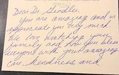 Testimonial letter: Dear Dr. Gendler you are amazing…. Patient 12