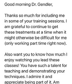 Testimonial letter: Thank you. Good morning Dr. Gendler, Thanks so much for including me… Patient 1